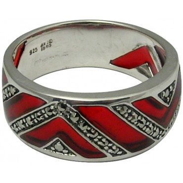 RG503   Ring with Red Enamel and Marcasite Sterling Silver Ari D Norman