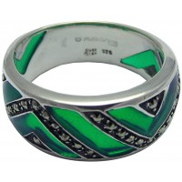 RG504   Ring with Green Enamel and Marcasite Sterling Silver Ari D Norman