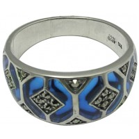 RG508   Ring with Blue Enamel and Marcasite Sterling Silver Ari D Norman