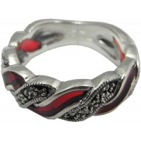 RG512   Ring with Red Enamel and Marcasite Sterling Silver Ari D Norman