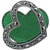 RG522   Ring with Green Enamel and Marcasite Sterling Silver Ari D Norman