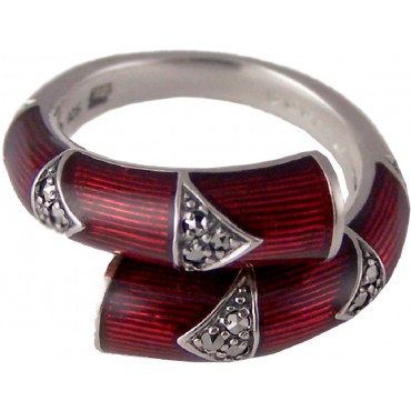 RG525   Ring with Red Enamel and Marcasite Sterling Silver Ari D Norman