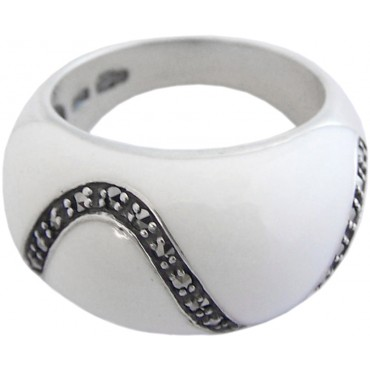 RG535 - Sterling Silver Ring with White Enamel and Marcasite