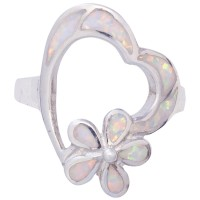 RG542   Heart and Flower Ring With Crushed White Opal Resin Sterling Silver Ari D Norman