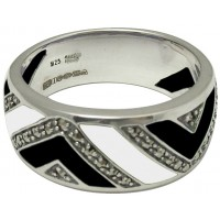 RG555   Ring With Black and White Enamel and Marcasite Sterling Silver Ari D Norman