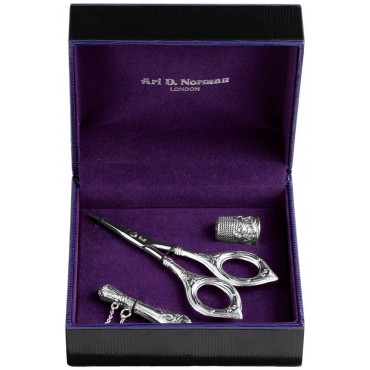BOX44   Victorian Style Three Piece Sewing Set Sterling Silver Ari D Norman