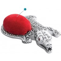 GT2274   Marcasite and Garnet Set Alligator Pin Cushion Sterling Silver Ari D Norman