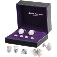 BOX153    Mother of Pearl Cufflinks and Studs Dress Shirt Set Sterling Silver Ari D Norman