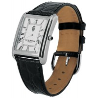 WTCH10   Sterling Silver Unisex Classic Watch with Black Leather Strap Ari D Norman