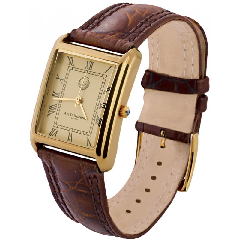 Sterling Silver Vermeil Mens Watch With Brown Leather Strap