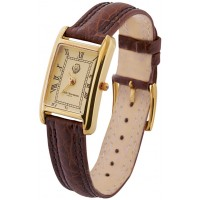 WTCH17   Gold Plated Sterling Silver (Vermeil) Unisex Watch with Brown Leather Strap Ari D Norman