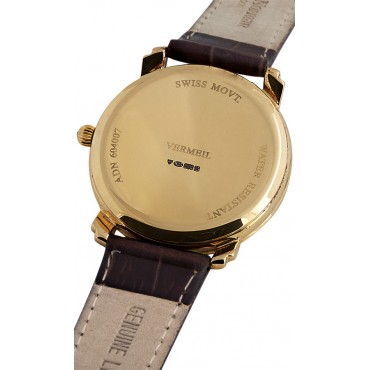 WTCH4   Gold Plated Sterling Silver (Vermeil) Unisex Watch with Leather Strap Ari D Norman