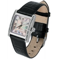 WTCH6   Sterling Silver Diamond Set Unisex Watch with Leather Strap Ari D Norman