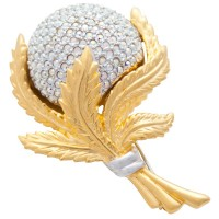 JB172   Gold and Rhodium Plated Crystal Flower Brooch Jewelari of London