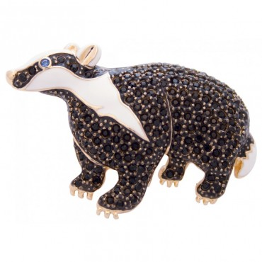 JB251   Gold Plated Badger Brooch Jewelari of London