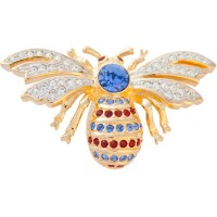 ADC3   Gold Plated Bee Brooch with Swarovski Crystals Jewelari of London