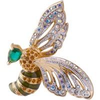 JB2   Gold Plated Bee Brooch with Austrian Crystals Jewelari of London
