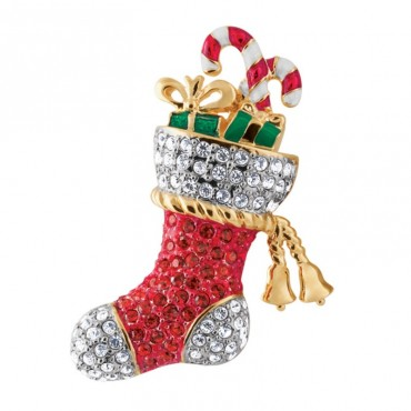 JB133   Gold Plated Christmas Stocking Brooch with Austrian Crystals Jewelari of London