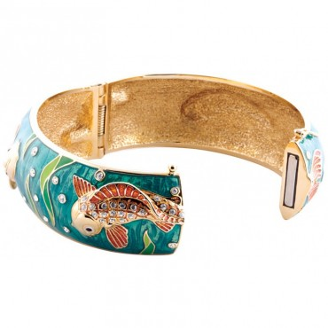 JBE17   Gold Plated Crystal Koi Cuff Bangle Jewelari of London
