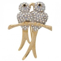ADC4   Gold Plated Crystal Lovebirds Brooch Jewelari of London