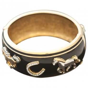JBE24   Gold Plated Equestrian Bangle Jewelari of London