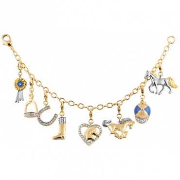 JBT17   Gold Plated Equestrian Charm Bracelet With Crystals Jewelari of London