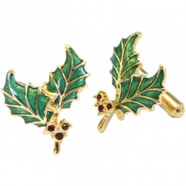 JCU3   Gold Plated Holly Cufflinks Jewelari of London