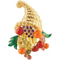 JB45   Gold Plated Jewelled Cornucopia Brooch Jewelari of London