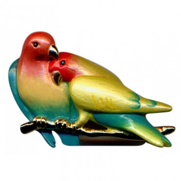 JB213   Gold Plated Lovebirds Brooch Jewelari of London