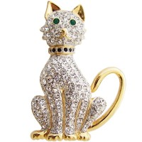 JB13   Gold Plated Metal Alloy and Austrian Crystal Cat Brooch Jewelari of London