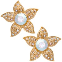 ANC6   Gold Plated Metal Alloy and Austrian Crystal Flower Earrings Jewelari of London