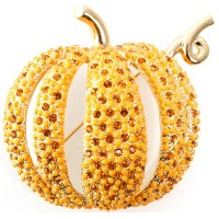 JB122   Gold Plated Pumpkin Brooch Jewelari of London