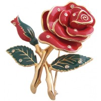 JB23   Gold Plated Rose Brooch Fashion Jewellery