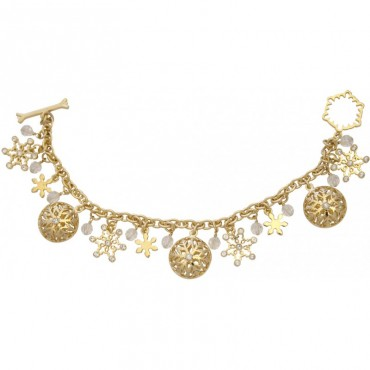 JBT25   Gold Plated Snowflake Charm Bracelet Jewelari of London