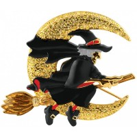 JB157   Gold Plated Witch on a Broom Brooch Jewelari of London