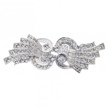 JB176   Rhodium Plated Bow Style Brooch with Austrian Crystals Jewelari of London