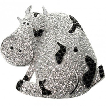 JB120   Rhodium Plated Cow Brooch Set with Austrian Crystals Jewelari of London