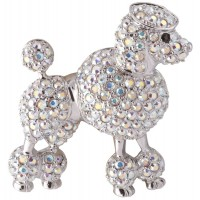 ADC8   Rhodium Plated Crystal Poodle Brooch Jewelari of London