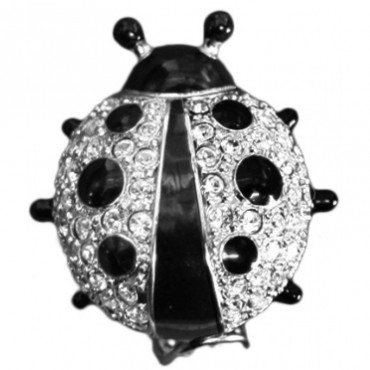 GLN7   Rhodium Plated Ladybird Brooch with Austrian Crystals Jewelari of London