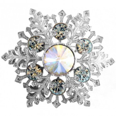 JB165   Rhodium Plated Large Snowflake Brooch with Austrian Crystals Jewelari of London