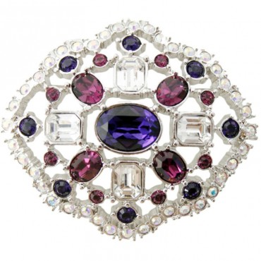 JB123   Rhodium Plated Metal Alloy and Austrian Crystal Cluster Brooch Jewelari of London