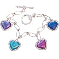 JBT19   Rhodium Plated Multi-Coloured Heart Bracelet Jewelari of London