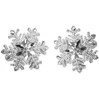 JCU6   Rhodium Plated Snowflake Cufflinks Jewelari of London