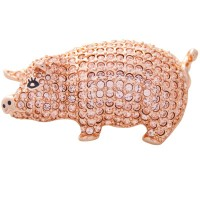 JB163   Rose Gold Plated Metal Alloy and Austrian Crystal Pig Brooch Jewelari of London