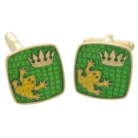 CU605   Ari D Norman Gold Plated Sterling Silver and Enamel Frog and Crown Swivel Cufflinks