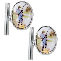 CU391 Ari D Norman Sterling Silver Enamel Fisherman Cufflinks