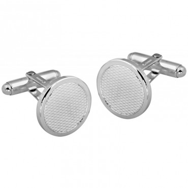 CU419 Ari D Norman Sterling Silver Engine Turned Round Cufflinks