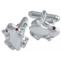 CU379 Ari D Norman Sterling Silver Frog Cufflinks with Garnet Set Eyes