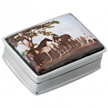 PB305   Ari D Norman Sterling Silver Horses Picture Pill Box