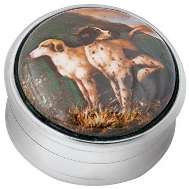 PB300   Ari D Norman Sterling Silver Hunting Dogs Picture Pill Box